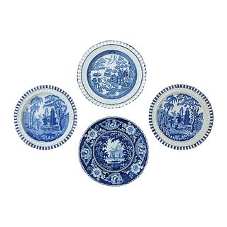 1840s English Wall Plates, 4-Pcs For Sale