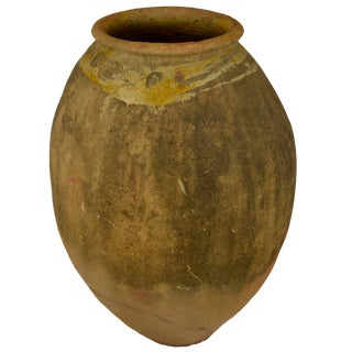 Antique French Terra Cotta Storage Jar With Yellow Glazed Rim From Biot For Sale
