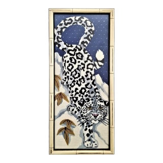 Vintage Chinese Snow Leopard Needlepoint With Faux Bamboo Frame -Signed 1976 - Asian Mid Century Modern Palm Beach Chic Animal Cheetah Tiger For Sale