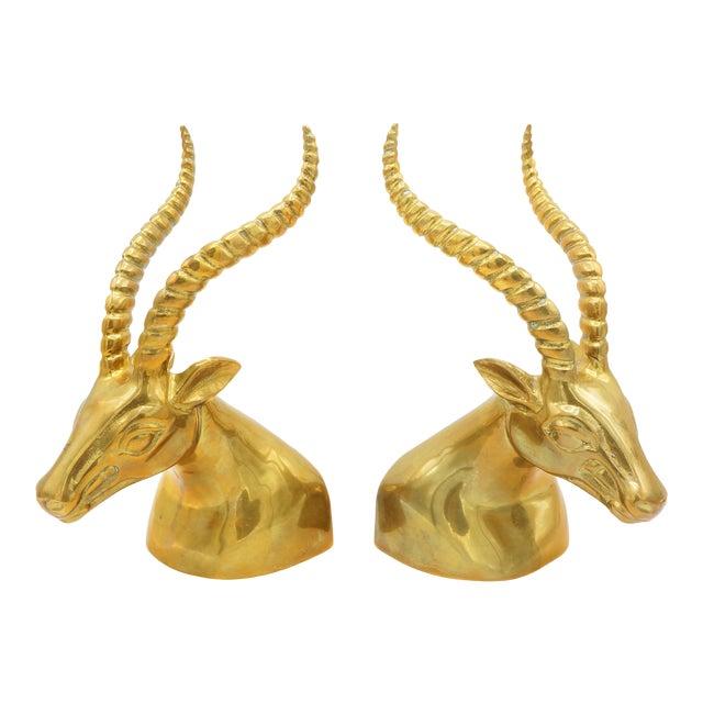 Modernist Sculptural Brass Gazelle Bookends - a Pair For Sale