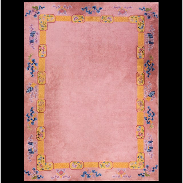 """Pink Antique Chinese Art Deco Rug 6'8"""" X 9'0"""" For Sale - Image 8 of 8"""