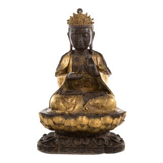 Large Bronze Statue of Bodhisattva on Double Lotus Throne For Sale