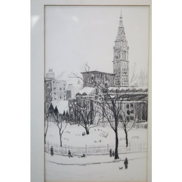 Americana 1970s Vintage Gramercy Park NYC Etching Print For Sale - Image 3 of 7