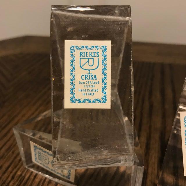 Mid-Century Modern Vintage Italian Crystal Triangular Napkin Holders - Set of 4 For Sale - Image 3 of 6
