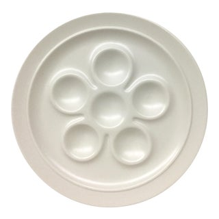 1980s German White Stoneware Deviled Egg Dish For Sale