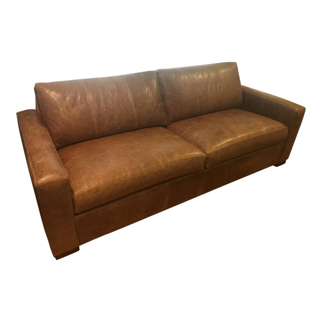Hudson Brown Leather Sofa by Ethan Allen - Image 1 of 5