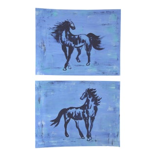 Minimalist Pair of Horses in Blue by Cleo Plowden For Sale