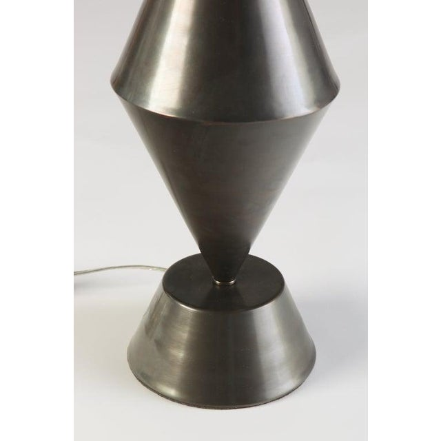 2010s Gunmetal Patinated Brass Conical Lamps - a Pair For Sale - Image 5 of 6