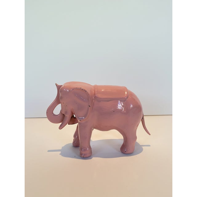 American Vintage Pink Iron Mechanical Coin Bank For Sale - Image 3 of 4