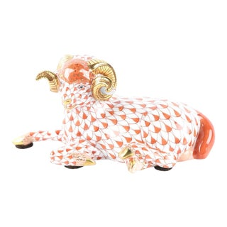 20th Century Figurative Herend Hungary Hand-Painted Fishnet Porcelain Seated Ram For Sale