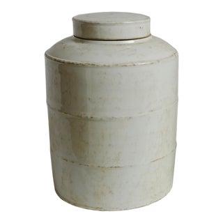 Vintage White Ceramic Jar with Lid For Sale