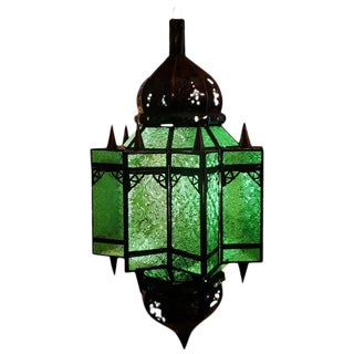 Moroccan Makki Style Green Glass Lantern For Sale