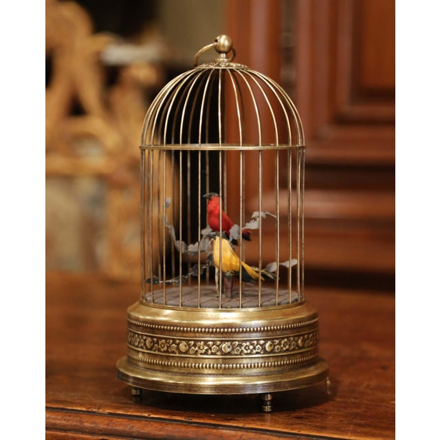 19th Century French Automaton Brass Cage With Two Singing Birds For Sale - Image 4 of 9
