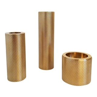 Brass Candleholders by Le Lampade - Set of 3 For Sale