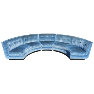 Early 20th Century Semi-Circle Sectional Sofa in Crushed Blue Velvet on Plinth Base - 3 Pieces For Sale