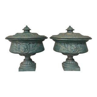 Air 19th Century French Napoleon III Period Iron Garden Urns For Sale