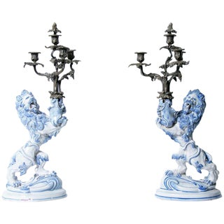 Pair of 19th Century Galle Faience Lion Candleholder With Silver Candelabra For Sale