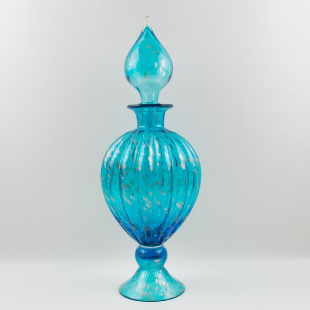 Italian Empoli Hand Blown Turquoise Glass Lidded Apothecary Jar Dispenser For Sale - Image 13 of 13