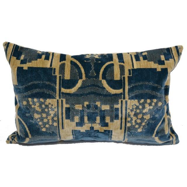 Blue Luigi Bevilacqua of Milan Blue Art Deco Velvet Lumbar Pillows - a Pair For Sale - Image 8 of 12