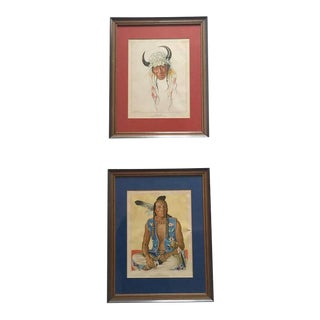 Mid Century Modern Native American Portrait Prints - a Pair