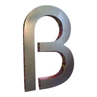 "Vintage MCM Dimensional Chrome Letter ""B"""