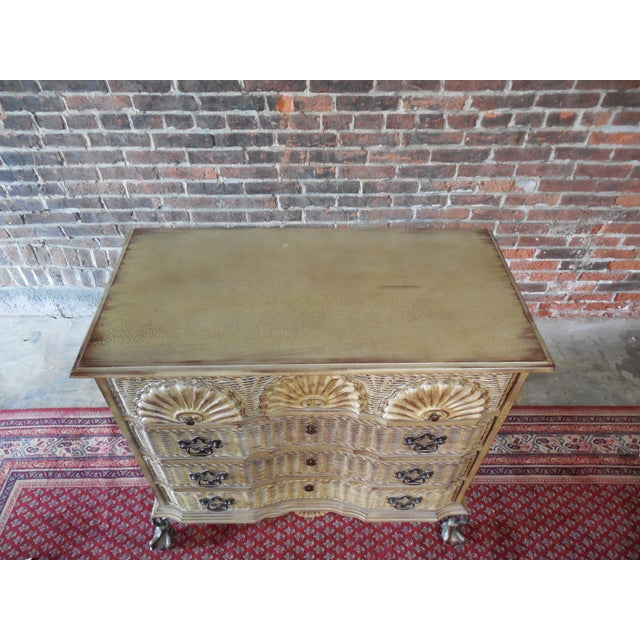 Block Front Chippendale Style Claw Footed Paint Distressed Shabby Chic Chest - Image 3 of 8