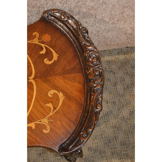 Gold Vintage French Style Carved & Inlaid Petite Cocktail Table For Sale - Image 8 of 11