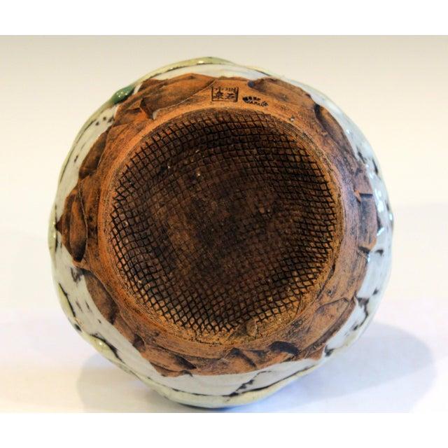 Awaji Pottery Manipulated Jar Gloppy Drip Glaze Zen Tea Ceremony Vase For Sale - Image 9 of 12