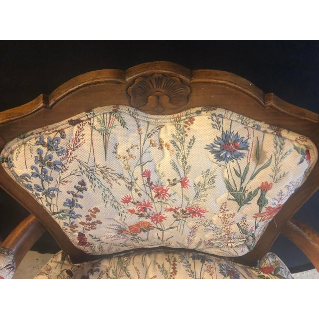 Country French Boudoir Fauteuil Louis XV Chairs in Quilted Like Upholstery, Pair For Sale - Image 9 of 10