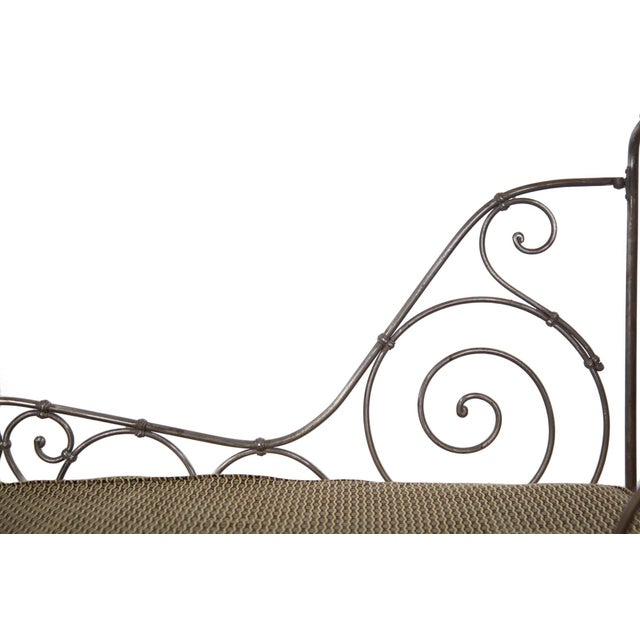 Fabric Antique French Wrought Iron Campaign Style Daybed Sofa For Sale - Image 7 of 13