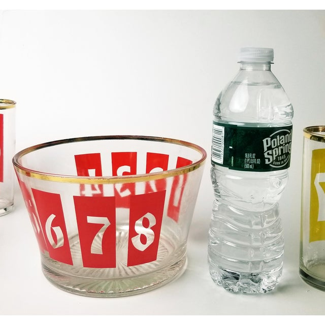 Mid-Century Decanter, Ice Bucket and Highball Glasses Numbered in Bright Primary Colors - Set of 10 For Sale - Image 11 of 13