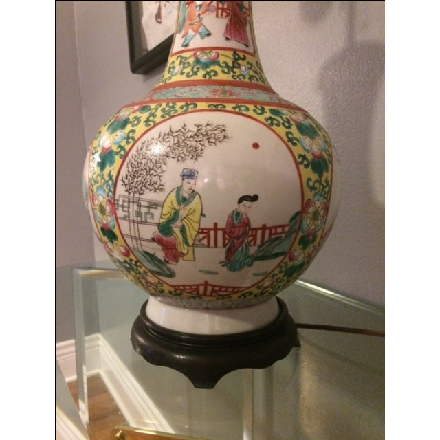 Vintage Chinoiserie Hand-Painted Table Lamp - Image 3 of 5
