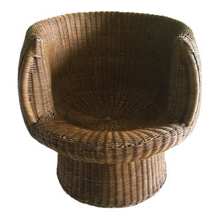 Vintage Wicker Barrel Back Tub Chair