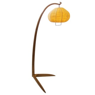 Wood Arc Floor Lamp - Italy 1950's For Sale