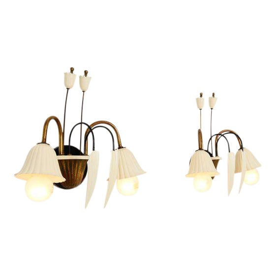 Flower-Shaped Italian Wall Sconces - a Pair For Sale