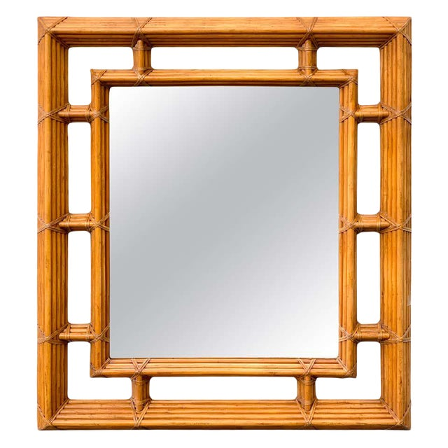 Large Bamboo & Willow Architectural Mirror, by Henredon For Sale
