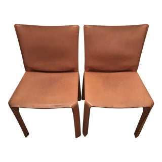 Cassina Leather Side Cab Chairs - A Pair