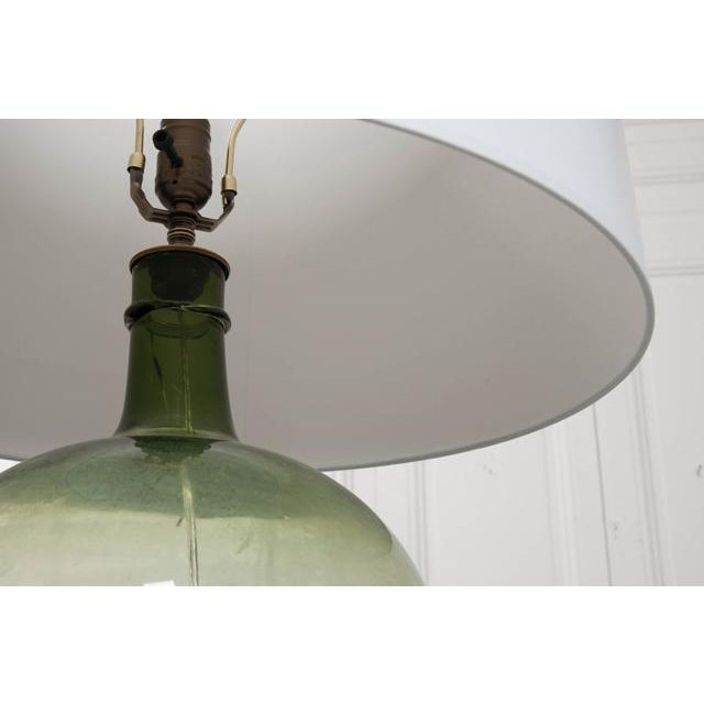 French 19th Century Green Glass Demijohn Lamp For Sale In Baton Rouge - Image 6 of 9