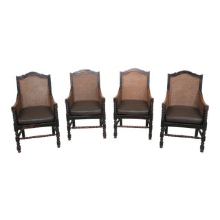 1900s Antique English Cane Back Leather Seat Arm Chairs- Set of 4 For Sale