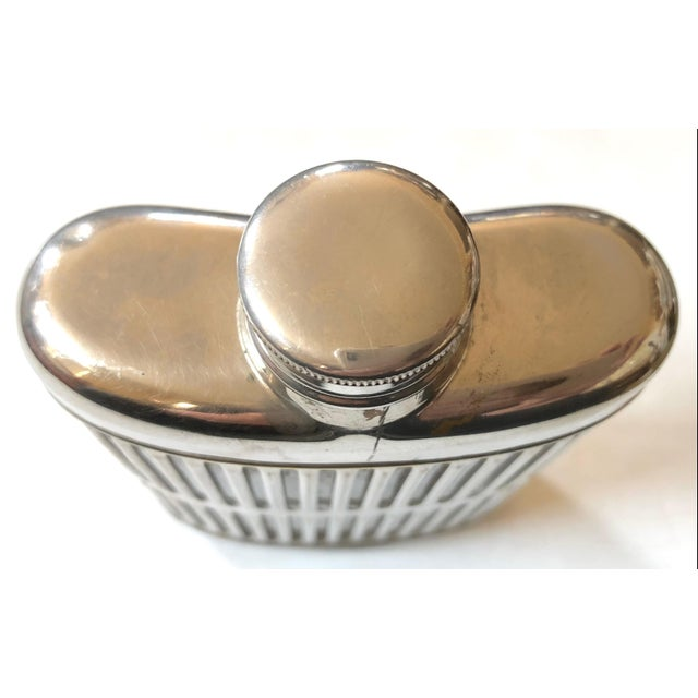 Mid-Century Modern Silver Metal Hip Flask For Sale - Image 3 of 6