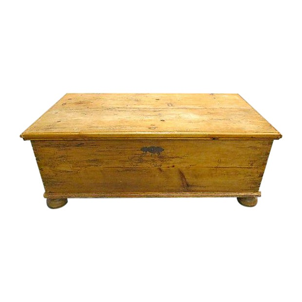 Antique Pine Chest Trunk Coffee Table