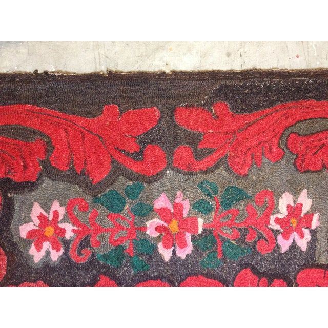 """Stitched Crewel Red & Brown Rug - 2'6"""" x 4'4"""" - Image 3 of 7"""