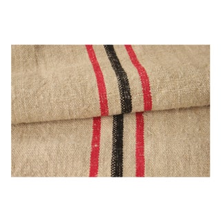 "Antique Homespun Red And Back Striped Grain Sack Fabric - 21.5x100"" For Sale"