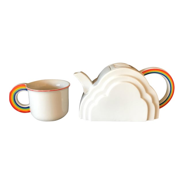 Japanese Cloud and Rainbow Teapot and Mug Set - Image 1 of 7