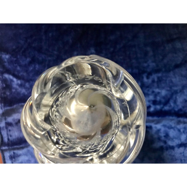 Glass Edvin Ohrstrom Orrefors Scandinavian Mid Century Crystal Art Glass Vase For Sale - Image 7 of 8