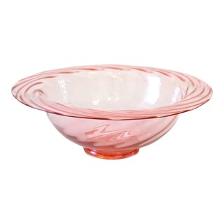 Large Antique Rose Pink Swirl Glass Center Bowl For Sale