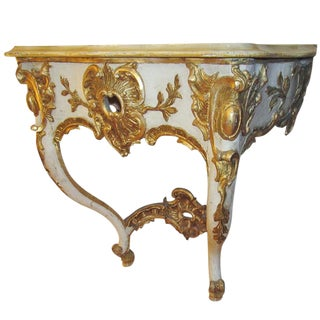 19th Century Cream and Gilt Italian Console For Sale