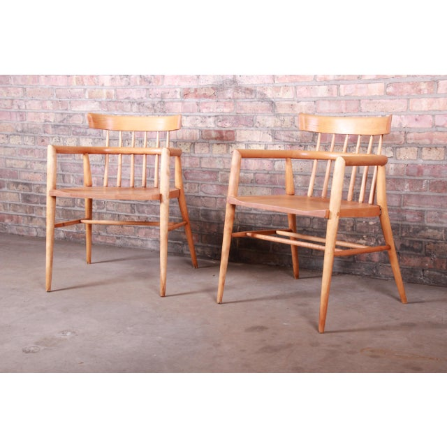 Paul McCobb Planner Group Solid Maple Spindle Back Armchairs - a Pair For Sale - Image 13 of 13