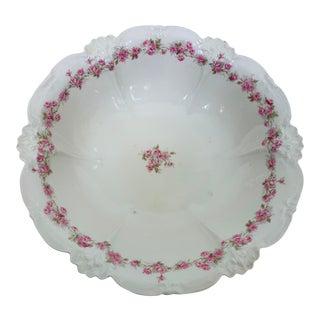 Antique Rose Pattern Field Limoges Serving Bowl, France For Sale