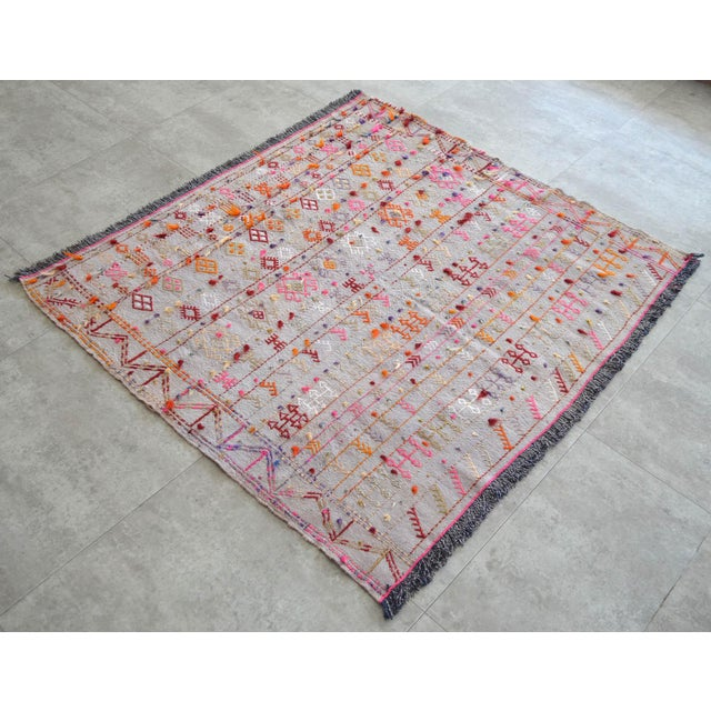 """Antique Turkish Handmade Kilim Rug - A wool on cotton, Turkish Kilim rug that is in used condition. Size: 43.3"""" x 46""""..."""